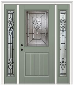 Shown is a Fontainebleau 1/2 Lite 1-Panel Planked Entry Door with Sidelites Painted Sage Green. Visit DoorBuy.com to view our entire Fontainebleau Collection!