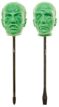 """CHARCOAL DESIGNS BOO DRIVERS SET OF TWOOh the horror it would be if you didn't have something to spin that loose screw! This set of """"Boo Drivers"""" are perfect for that maniac mechanic or horrific housewife. Includes a pair of sturdy metal phillips and flathead screwdrivers topped with horrifying monsters in green. $20.00"""