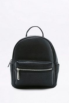 Black Faux-Leather Mini Backpack