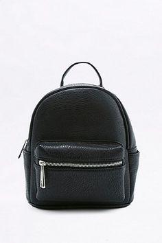 Black Faux-Leather Mini Backpack