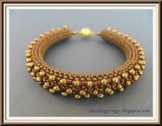 Zsuzska gyöngyvilága: Matt bronz és arany karkötő