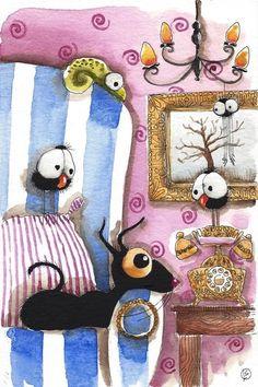 Original watercolor painting black cat crow bird sofa chameleon antique phone #IllustrationArt
