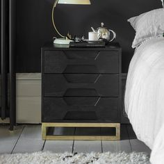 Our unique Hex contemporary 3 drawer bedside chest are as stylish as they are functional with their eye-catching hexagonal design. Made from white wash mango wood with a stainless steel base. Bedside Drawers, Bedside Chest, Dresser As Nightstand, Nightstands, Colorful Furniture, Unique Furniture, Home Furniture, Furniture Handles, Bedroom Furniture