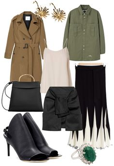 Sunday's Cravings: Trenchsition. Trenchcoat, Flower bomb earrings, Top, Khaki jacket,Bag with ring handle, Structured mini skirt, Wool knit skirt, Glove leather sandals, Ring - teetharejade.com