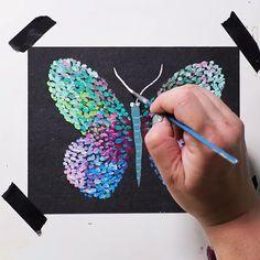 Gouache Butterfly on Black Paper : Holbein acrylic gouache on black Gouache Painting, Painting & Drawing, Butterfly Painting, Guache, Black Paper, Art Drawings Sketches, Summer Art, Art Plastique, Acrylic Art