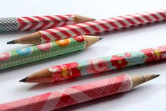 Washi Tape Covered Pencils DIY