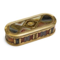 A Gold and Hardstone Large Snuff Box, probably English, late 18th century