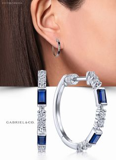 White Gold Sapphire and Diamond Hoop Earrings Ear Jewelry, Jewelry Accessories, Fine Jewelry, Jewelry Design, Women Jewelry, Gold Jewelry, Diamond Hoop Earrings, Silver Hoop Earrings, Women's Earrings