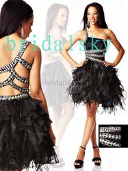 mobile site-Black One Shoulder Rhinestone Tiered Sash Column Mini Homecoming Dresses Short Prom Gowns C-399