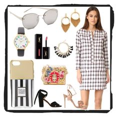 """Fashionable Sets"" by mkrish ❤ liked on Polyvore featuring A.P.C., Linda Farrow, Ettika, Aquazzura, Iphoria, Kate Spade, Dolce&Gabbana, Yves Saint Laurent and Topshop"