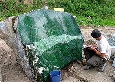 "The ""Polar Pride Boulder"" was discovered in and gem experts called this gem-quality Nephrite Jade boulder ""the find of the millennium. Minerals And Gemstones, Rocks And Minerals, Le Jade, Beautiful Rocks, Mineral Stone, Rocks And Gems, Stones And Crystals, Gem Stones, Natural Crystals"