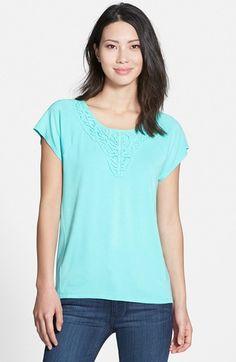 Chaus Lace Trim Scoop Neck Top available at #Nordstrom
