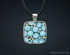 Daisy Aqua Blue Swirl Necklace Mosaic - Wearable Art