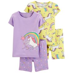 Pamper your little one with the carter's Unicorn Pajama Top and Short Set for an assortment of stylish bedtime ensembles. Crafted with cozy cotton, this set features 2 pajama tops and 2 shorts in enchanting unicorn designs. Toddler Outfits, Girl Outfits, Trendy Outfits, Cotton Pjs, Girls Sleepwear, Kids Nightwear, Yellow Shorts, Neon Yellow, Carters Baby Girl