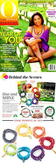 Announcing our newest Color Karma Collection, now available for purchace! Featuring a rainbow of hues, semi-precious smooth and faceted beads, and 2 pendant options - tassel or gem.  Each set includes 3 separate bracelets for $58. As seen in the January 2016 issue of O, The Oprah Magazine  (on the cover, letter from Oprah and inside spread!)