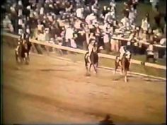 "Secretariat's three triple crown races in 1973.  A.Maz.Ing.  The person controlling the video couldn't even keep the next horse back in the same frame as the ""tremendous machine"" as he took a truly ridiculous lead in the longest and last of 3 grueling races, heading for history and a still-unbeaten record."