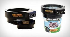 Ice Cream Lock – Ben & Jerry's Euphori-Lock Ice Cream Pint Combination Lock Protector Now you can keep your ice-cream safe from ice-cream thieves. It has an easy, two-piece assembly with twist-lock installation.