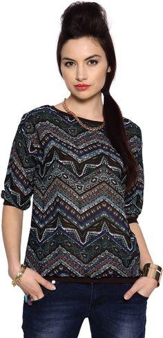 People Casual 3/4 Sleeve Printed Women's Black Top