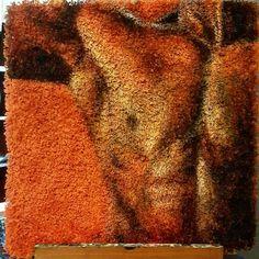 Men of Finland. Suomalaisen miehen pehmeyttä matolle. 80x80cm Acrylic on carpet. #carpetpainting