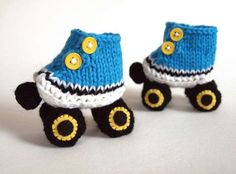 Knitted Roller Skate Booties with Free Pattern