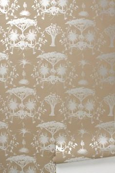 Whistling Thorn Wallpaper- anthropologie, china cabinet back!!!!