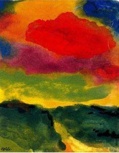 """lonequixote: """" Emil Nolde Green Landscape with Red Cloud """" Emil Nolde, Green Landscape, Landscape Art, Landscape Paintings, Watercolor Landscape, Deep Paintings, Watercolor Artists, Art Dégénéré, Degenerate Art"""