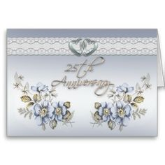 Image and illustration composition for elegant formal 25th wedding, anniversary party blue floral card for formal invitation. The text is fully customizable. Add your information or change it completely.