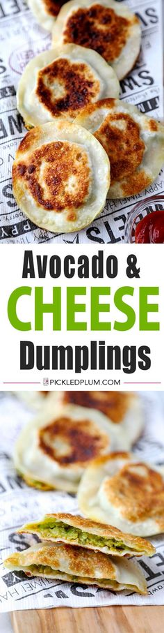 Avocado & Cheese Dumplings - Crispy, creamy and pillowy avocado and cheese dumplings. So delicious you won't be able to stop at just one and so easy, they only take 10 minutes to make! Recipe, snack, dumplings, appetizer, party food, wonton | pickledplum.