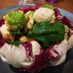 Culinary travel in Scotland. A fresh take, and a modern twist on on spinach salad at Deseo at The Gleneagles Hotel Visit Britain, Spinach Salad, Scotland, Cabbage, Fresh, Chicken, Vegetables, Modern, Travel