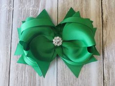 Green Boutique Hair Bow with Rhinestone Center by HairWhimsy1, $7.00