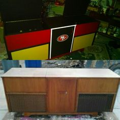 Repurposed this old Stereo cabinet to 49er buffet table, bar or ice chest!   Added cast wheels to move it around. Need to add 2 plastic tubs for ice. Old beverages. Getting ready for NFL season.
