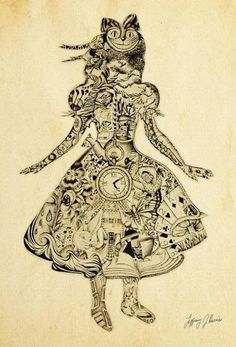 Alice In Wonderland Tattoo idea - but with Burton's characters instead of the old school ones