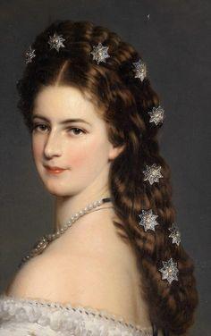 Detail of famous portrait of Empress Elisabeth of Austria by Franz Xavier Winterhalter.