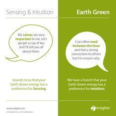 How sensing and intuition show up in Earth Green Colour Energy