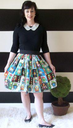 Retro Robot Charm Skirt. $40.00, via Etsy.
