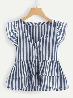Shop V Neckline Single Breasted Striped Babydoll Top online. SheIn offers V Neckline Single Breasted Striped Babydoll Top & more to fit your fashionable needs. Girl Outfits, Cute Outfits, Fashion Outfits, Cute Blouses, Trendy Tops, Blouse Designs, Plus Size Fashion, Couture, Clothes
