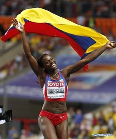 Colombia's Ibarguen Wins Gold of Women's Triple Jump in Moscow Triple Jump, Sports Track, Track And Field, Female Athletes, Moscow, Fit Women, Bikinis, Swimwear, Garra