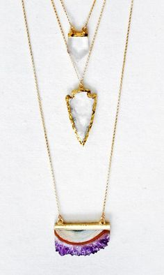 Layered Gold Hammered Bar Necklace, Crystal Point Necklace, Crystal Quartz Arrowhead Necklace, and Raw Amethyst Slice Necklace Long Jewelry Box, Jewelry Accessories, Fashion Accessories, Fashion Jewelry, Jewlery, Jewellery Earrings, Cheap Jewelry, Silver Earrings, Jewelry Rings