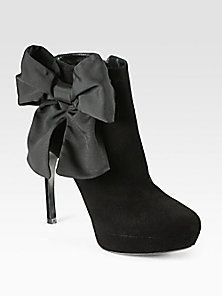 Alexander McQueen - Bow-Trimmed Suede Ankle Boots