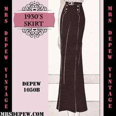 wide vintage skirt patterns | Vintage Sewing Pattern 1930's Skirt in Any Size Depew 1050b Draft at ...
