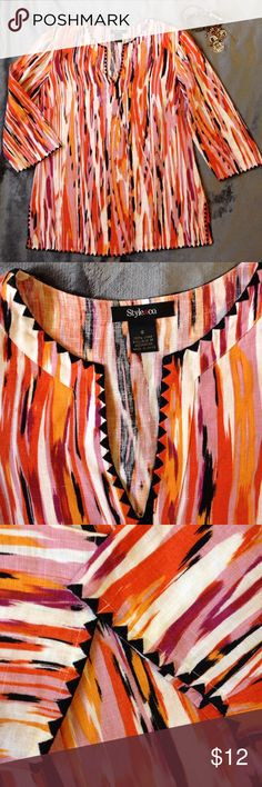 Linen multi color striated tunic size 6 Linen tunic had a waterfall full of colors...black, tangerine, orange, lilac. The neckline, end of sleeves and hem have black embroidered edging. Underarm to underarm 18 3/4 inches. Shoulder to bottom of tunic 26 1/4 inches. On either side of of bottom of tunic is 4 inch slit. Sleeves come above wrists Style & Co Tops Tunics