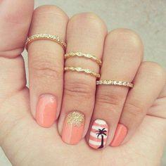 Loving these beach nails! Loving these beach nails! Fancy Nails, Diy Nails, Cute Nails, Pretty Nails, Beach Themed Nails, Beach Nails, Beach Pedicure, Hawaii Nails, Beach Vacation Nails