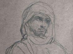 CHASSERIAU Théodore,1846 - Arabe debout, retenant un pli de son Burnous - drawing - Détail 07