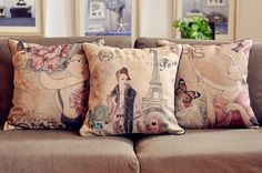 . Vintage Country, Country Style, French Country, Throw Pillow Cases, Pillow Covers, Throw Pillows, Vintage Paris, Retro Vintage, Punk Rock Bedroom