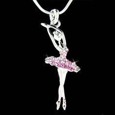 Purple Swarovski Crystal BALLERINA Ballet Dance Girl Dancer dancing Pendant Necklace