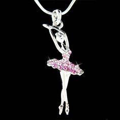Purple Swarovski Crystal BALLERINA Ballet Dance Girl Dancer dancing Pendant Necklace