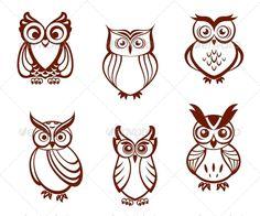 Set of Cartoon Owls - Animals Characters