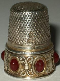Vintage German Sterling Silver Thimble Decorative Border Julius Wengert Mark  love the ruby (look) cabochons