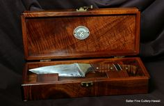Hand forged Japanese blade.  Handcrafted handle and box by Gregg Salter of Salter Fine Cutlery in Hawaii.