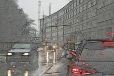 Morgendlicher Verkehr in Stolberg Rheinland, Zweifallerstraße, Stadt auswärts.